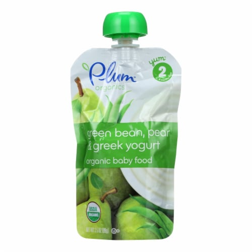 Plum Organics Baby Food- Green Bean Pear and Greek Yogurt-Stage 2-6 Months and Up-3.5oz-6Case Perspective: front