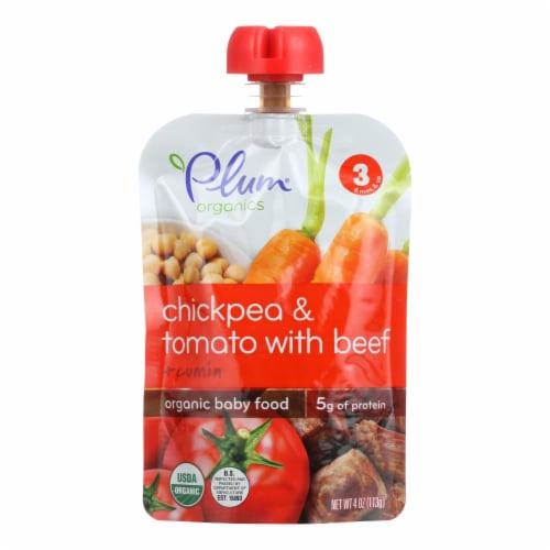 Plum Organics Stage 3 Meals Baby Food-Chickpea and Tomato with Beef + Cumin-Case of 6-4oz Perspective: front