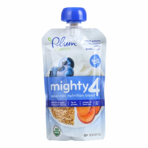 Plum Organics Plum Mighty 4 Tots Snacks Blueberry Sweet Potato Millet - Case of 6 - 4 OZ Perspective: front