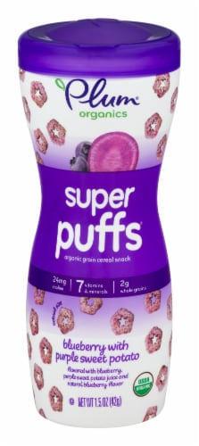 Plum Organics Super Puffs Blueberry with Purple Sweet Potato Grain Cereal Snack Perspective: front