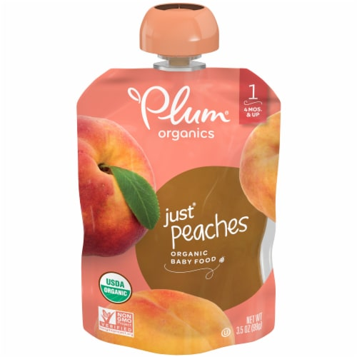 Plum Organics Just Peaches Stage 1 Baby Food Perspective: front