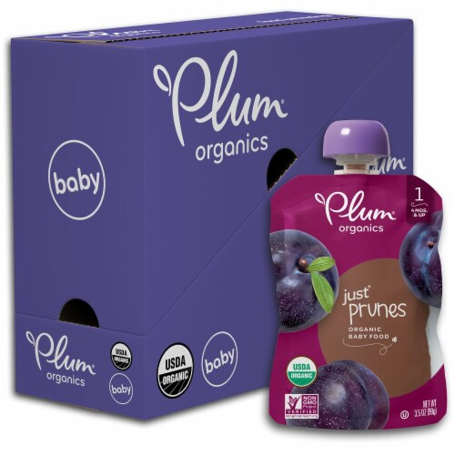 Plum Organics® Just® Prunes Organic Stage 1 Baby Food Pouch Perspective: front