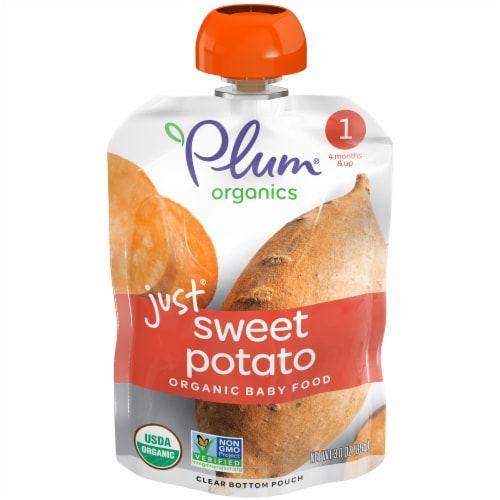Plum Organics Sweet Potato Stage 1 Baby Food Perspective: front