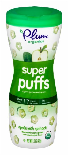 Plum Organics Super Puffs Apple with Spinach Cereal Snack Perspective: front