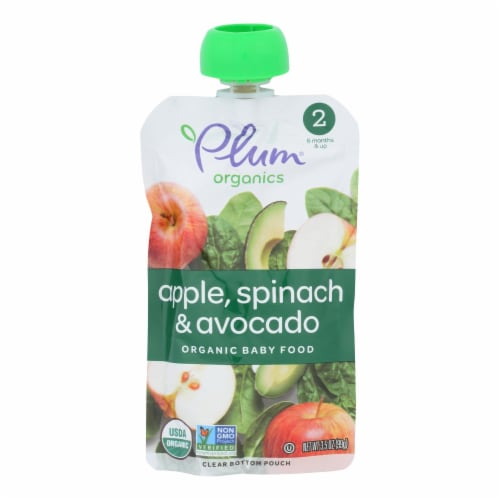 Plum Organics Plum Stage2 Blends Baby Food Apple Spinach Avocado - Case of 6 - 3.5 OZ Perspective: front