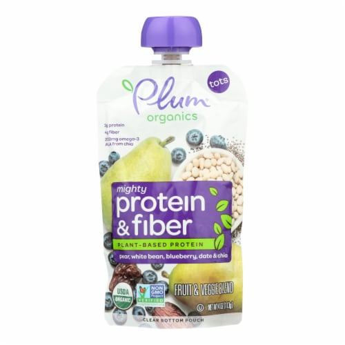 Plum Organics® Mighty Protein & Fiber Pear Bean Blueberry Date & Chia Blend Tots Snack Perspective: front