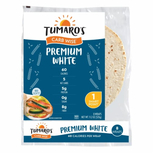 Tumaro'S 8-inch Premium White Carb Wise Wraps - Case of 6 - 8 CT Perspective: front