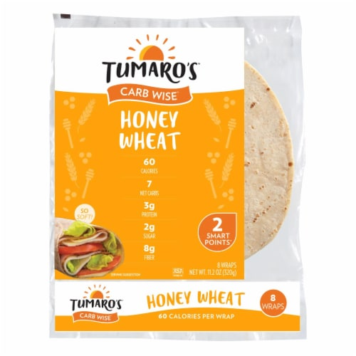 Tumaro'S 8-inch Honey Wheat Carb Wise Wraps - Case of 6 - 8 CT Perspective: front