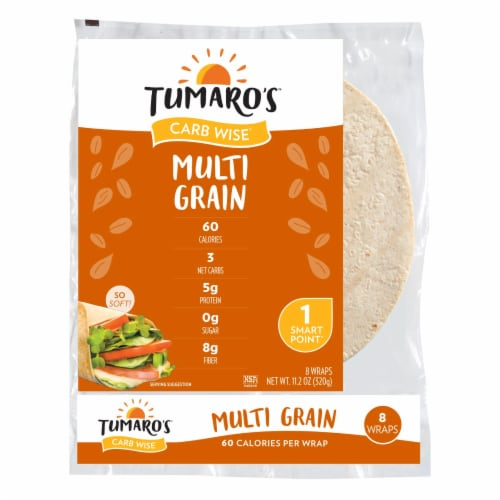 Tumaro'S 8-inch Multi Grain Carb Wise Wraps - Case of 6 - 8 CT Perspective: front