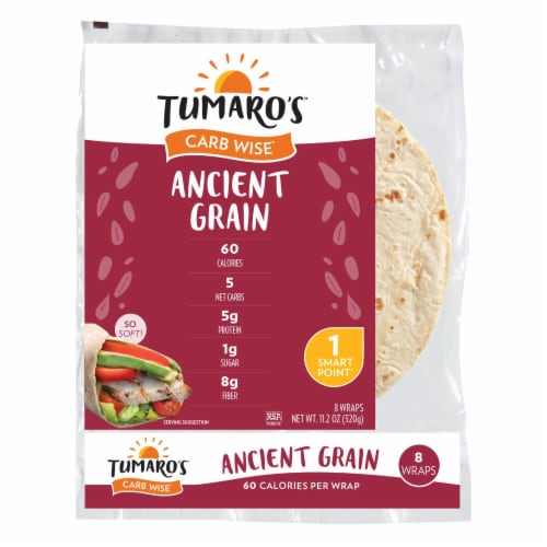 Tumaro'S 8-inch Ancient Grain Carb Wise Wraps - Case of 6 - 8 CT Perspective: front