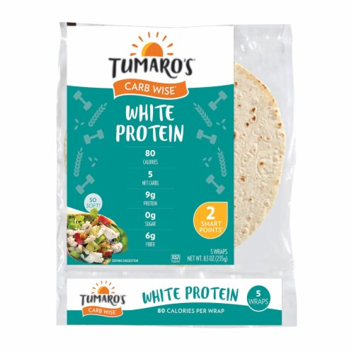 Tumaro'S 8-inch White Protein Carb Wise Wraps - Case of 6 - 5 CT Perspective: front