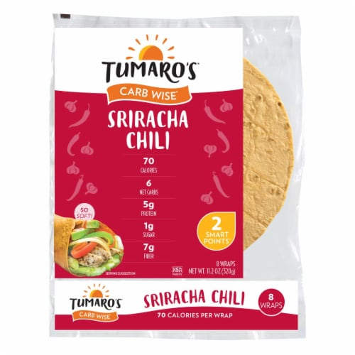 Tumaro'S 8-inch Sriracha Chili Carb Wise Wraps - Case of 6 - 8 CT Perspective: front