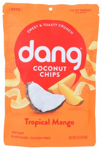 Dang Coconut Chips Tropical Mango Non GMO Plant Based Gluten Free, 3.17 oz (Pack of 12) Perspective: front