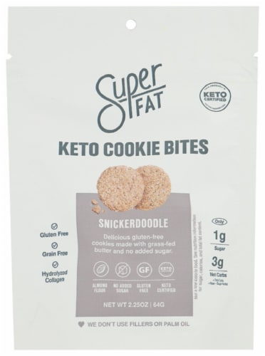 SuperFat Keto Cookie Bites Snickerdoodle Gluten Free 2.25oz Pk6 Perspective: front