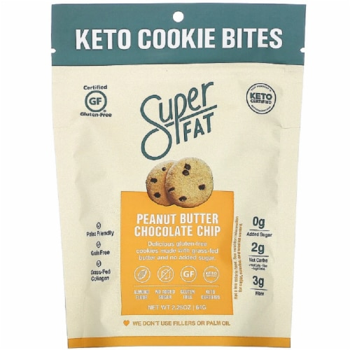 SuperFat Keto Cookie Bites Peanut Butter Chocolate Chip Gluten Free 2.25oz Pk6 Perspective: front
