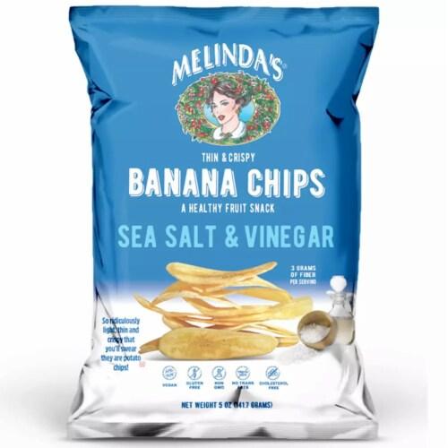 Melinda's Banana Chips Sea Salt & Vinegar Gluten Free Non GMO 5 oz (Pack of 15) Perspective: front
