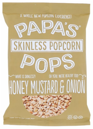 Papas Pops Popcorn Honey Mustard & Onion 5 oz (Pack of 12) Perspective: front