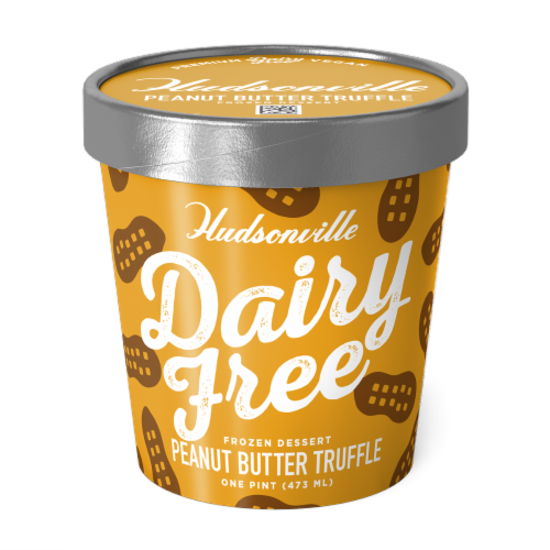 Hudsonville, Dairy Free Peanut Butter Truffle, 16 oz. Pint (8 Count) Perspective: front