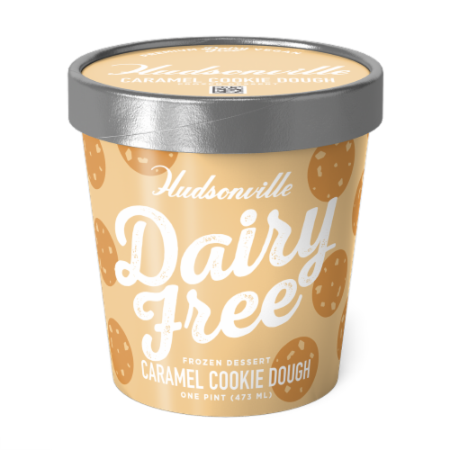 Hudsonville, Dairy Free Caramel Cookie Dough, 16 oz. Pint (8 Count) Perspective: front