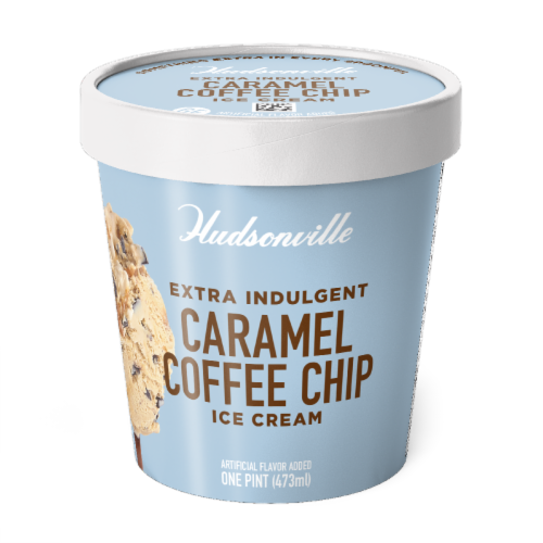 Hudsonville, Caramel Coffee Chip, 16 oz. Pint (8 Count) Perspective: front