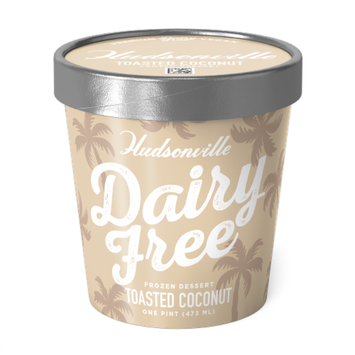 Hudsonville, Dairy Free Toasted Coconut, 16 oz. Pint (8 Count) Perspective: front