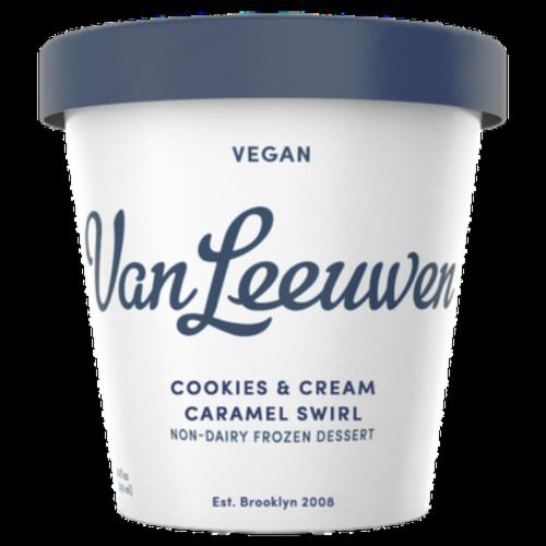 Van Leeuwen Vegan Cookies & Cream Caramel Swirl Frozen Dessert (8 Count) Perspective: front
