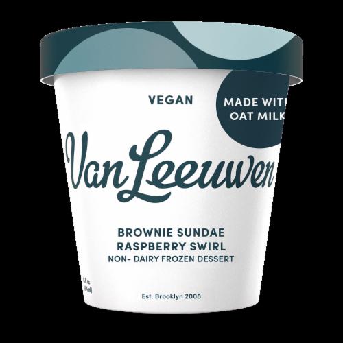 Van Leeuwen Oat Milk Brownie Sundae Raspberry Swirl Ice Cream (8 Count) Perspective: front