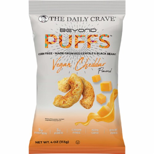 The Daily Crave Beyond Puffs Corn Free Vegan Cheddar , 4oz (Pack of 8) Perspective: front