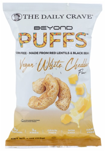 The Daily Crave Beyond Puffs Corn Free Vegan White Cheddar , 4oz (Pack of 8) Perspective: front