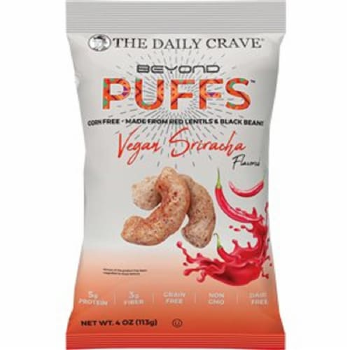 The Daily Crave Beyond Puffs Corn Free Vegan Sriracha , 4oz (Pack of 8) Perspective: front