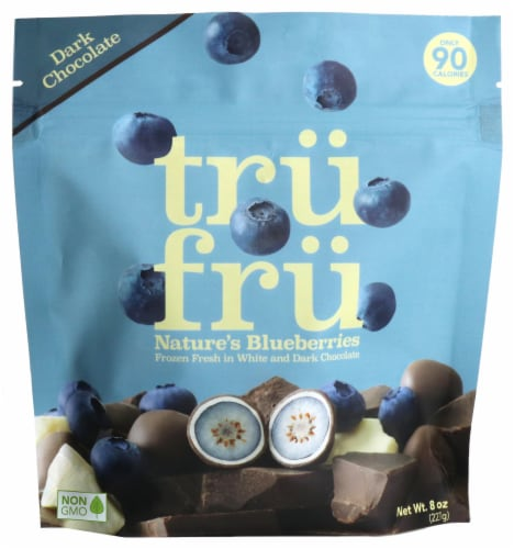Tru Fru White & Dark Chocolate Hyper-Chilled Blueberries Perspective: front