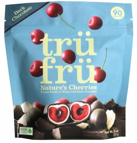 Tru Fru White and Dark Chocolate Whole Frozen Cherries Perspective: front