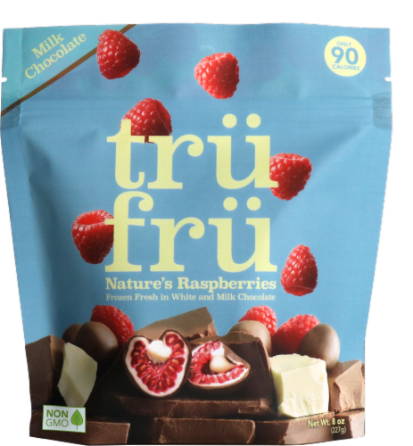 Tru Fru Frozen Fresh White and Milk Chocolate Whole Raspberries Perspective: front