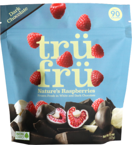 Tru Fru White and Dark Chocolate Whole Frozen Raspberries Perspective: front