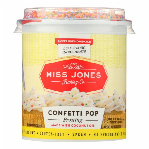 Miss Jones Baking Co. Confetti Pop Frosting  - Case of 6 - 11.98 OZ Perspective: front