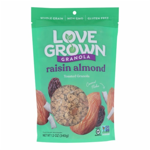 Love Grown Foods Oat Clusters - Raisin Almond Crunch - Case of 6 - 12 oz. Perspective: front
