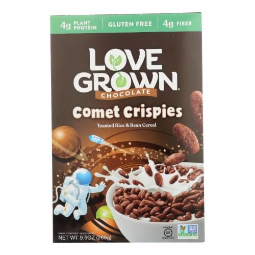 Love Grown Foods Chocolate Comet Crispies - Case of 6 - 9.5 oz. Perspective: front