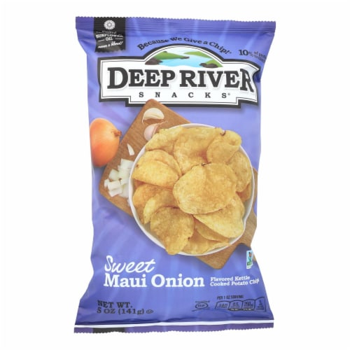 Deep River Snacks Sweet Maui Onion Kettle Chips  - Case of 12 - 5 OZ Perspective: front