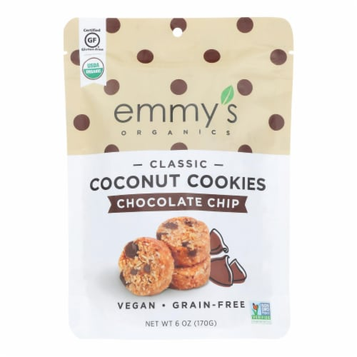 Emmy's Organics  Chocolate Chip - Case of 8 - 6 oz. Perspective: front