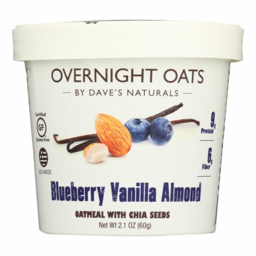 Dave's Gourmet - Overnight Oats - Blueberry Vanilla Almond - Case of 8 - 2.1 oz. Perspective: front
