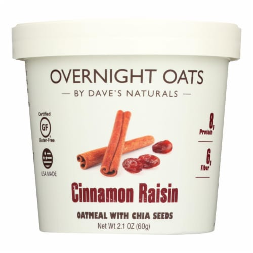 Dave's Gourmet - Overnight Oats - Cinnamon Raisin - Case of 8 - 2.1 oz. Perspective: front