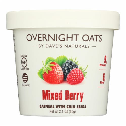 Dave's Gourmet - Overnight Oats - Mixed Berry  - Case of 8 - 2.1 oz. Perspective: front