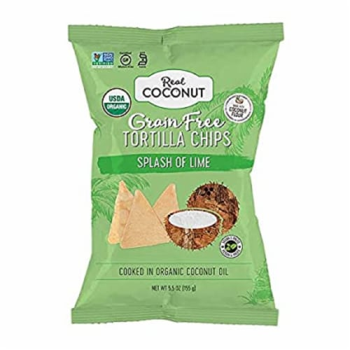 The Real Coconut Organic Grain Free Tortilla Chips Splash of Lime , 5.5oz (Pack of 12) Perspective: front