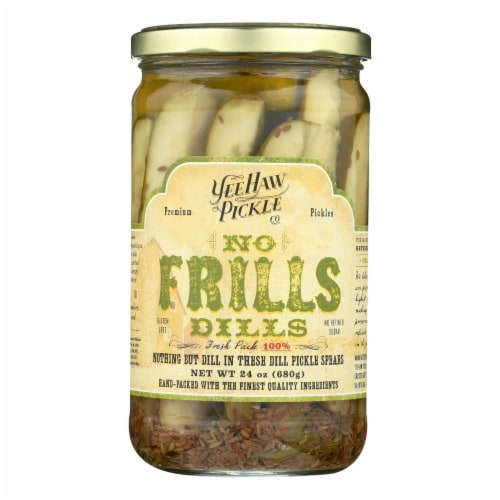 Yee-Haw Pickle Dills Pickle - No Frills - Case of 6 - 24 oz. Perspective: front