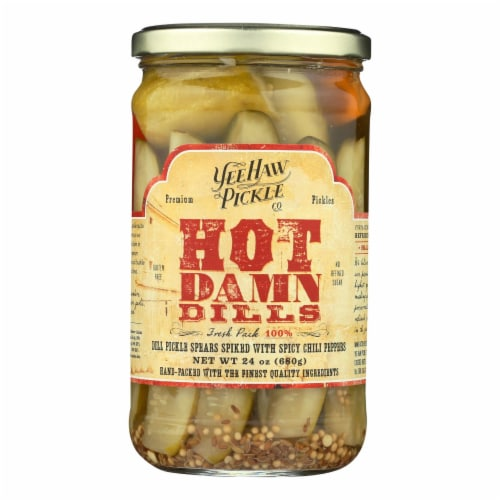 YeeHaw Pickle Co. Hot Damn Dills Spicy Pickle Spears Perspective: front