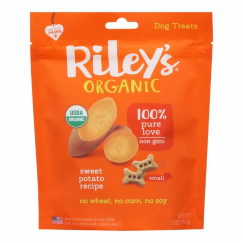 Riley's Organics Organic Dog Treats, Sweet Potato Recipe, Small  - Case of 6 - 5 OZ Perspective: front
