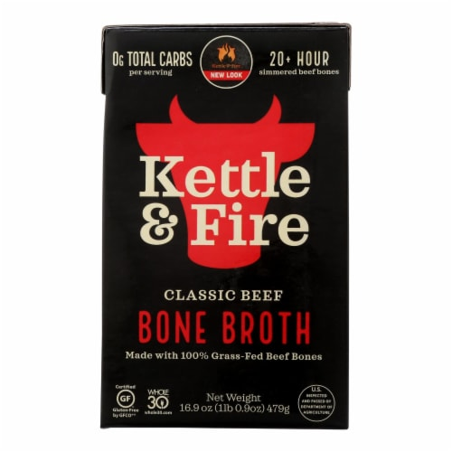 Kettle & Fire Beef Bone Broth  - Case of 6 - 16.9 OZ Perspective: front
