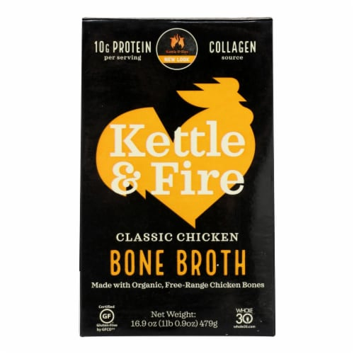 Kettle & Fire Chicken Bone Broth  - Case of 6 - 16.9 OZ Perspective: front