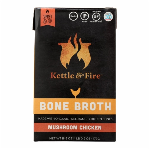 Kettle & Fire Mushroom Chicken Bone Broth  - Case of 6 - 16.9 OZ Perspective: front