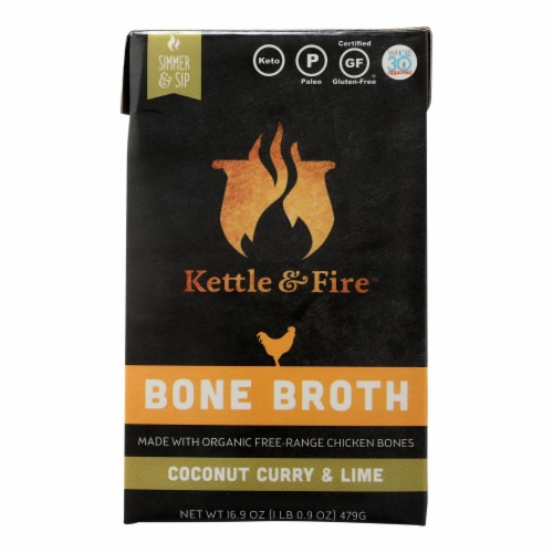 Kettle And Fire - Bone Broth Cnutcury/lime - Case of 6 - 16.9 OZ Perspective: front